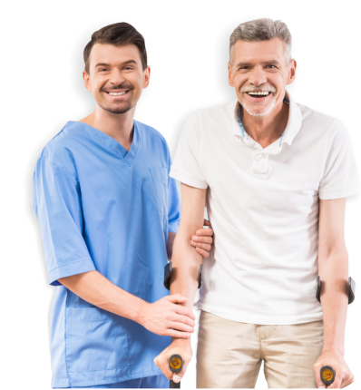 male caregiver assisting senior man