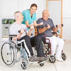 senior men doing an exercise with a caregiver